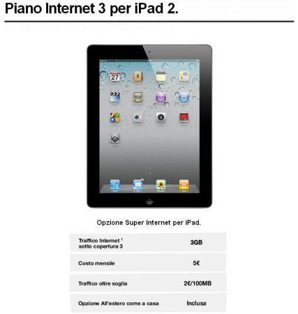 iPad 2 Tre Italia: tariffa Super Internet, 5 euro 3 GB mese