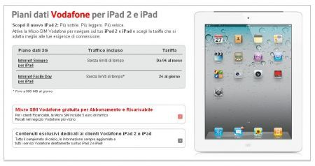 iPad 2 Vodafone: tariffa Internet Sempre Smart 9 euro 1 GB mese