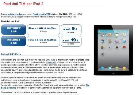 iPad 2 Tim: tariffa Internet 1 GB 9euro 1 GB mese
