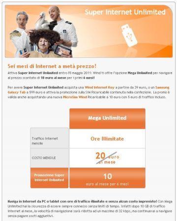 iPad 2: con Wind tariffa Mega Unlimited 10 euro al mese e traffico illimitato