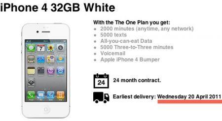 iPhone 4 bianco da Tre UK entro fine Aprile 2011?