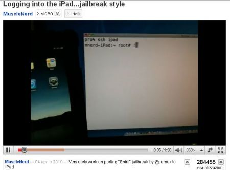 iPad e il jailbreak di MuscleNerd al Tablet Apple