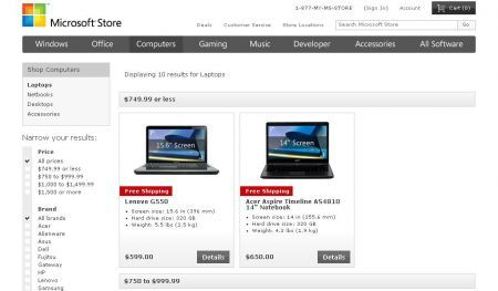 Microsoft Store vende PC online con Windows 7