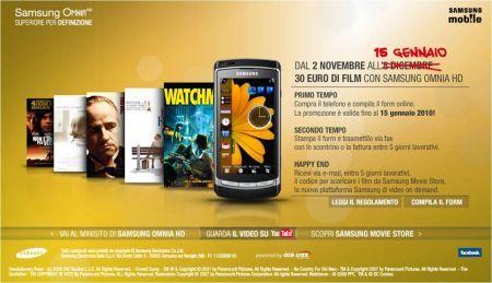 Samsung Omnia HD: prolungata la promozione legata al Samsung Movies Store
