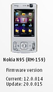 Nokia N95, Change Log Firmware v20.0.015