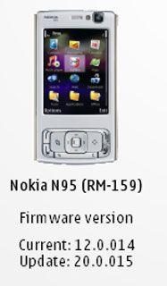 Nokia N95, Change Log Firmware v20.0.015