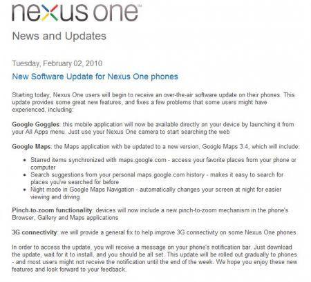Aggiornamento Firmware Nexus One: in arrivo il multitouch