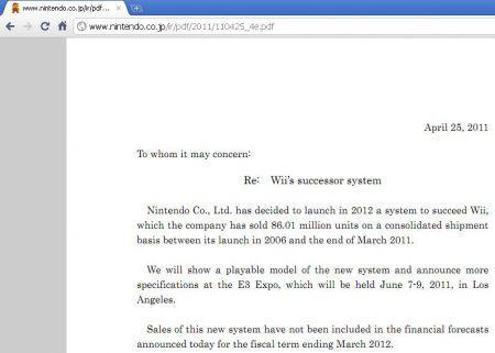 Nintendo Wii 2: presentazione all'E3 2011 a Giugno 2011
