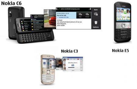 Nokia C3, Nokia C6 e Nokia E5: instant messaging e social networking per tutti