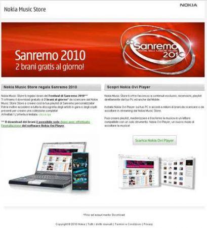Nokia regala il Festival di Sanremo: 1000 download gratis al giorno su Nokia Music Store