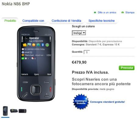 Nokia N86 8MP: disponibile dalla metà di giugno