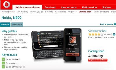 Vodafone UK: disponibile il Nokia N900 per il mercato inglese
