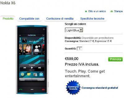 Nokia X6: prenotabile sul Nokia Online Shop