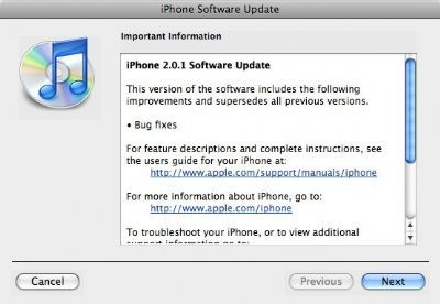 Nuovo Firmware 2.0.1 per iPhone 3G ed EDGE