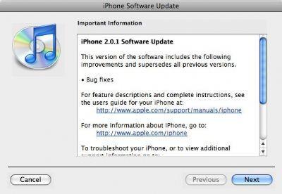 Nuovo Firmware 2.0.1 per iPhone 3G ed EDGE