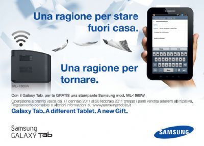 Samsung Galaxy Tab: acquisti un tablet e ricevi una stampante gratis