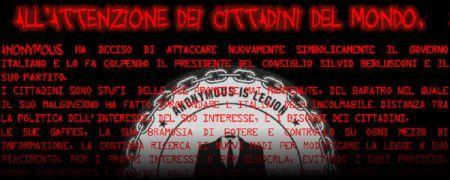 Hacker Anonymous attaccano Silvio Berlusconi