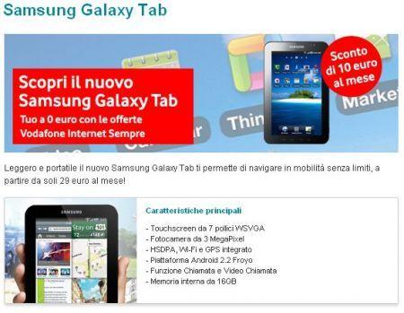 Samsung Galaxy Tab con Vodafone Italia