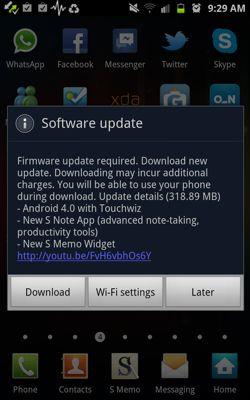 Samsung Galaxy Note, aggiornamento Android Ice Cream Sandwich in arrivo