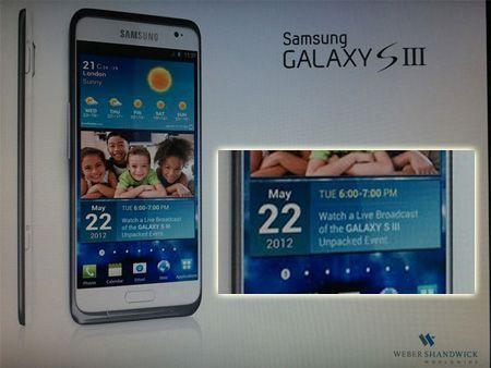 Samsung Galaxy S3, nuova immagine con data di uscita per il 22 maggio