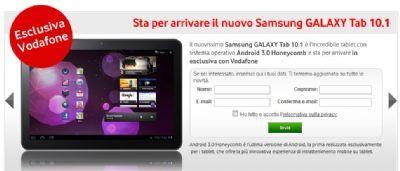Samsung Galaxy Tab 10.1 in vendita con Vodafone