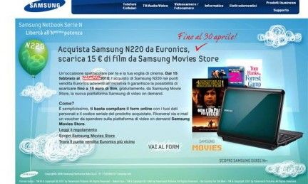 Samsung prolunga la promozione Samsung Movies Store e netbook N220