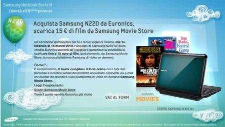 Samsung Movies Stories: acquista un netbook Samsung N220 e ricevi 15 euro di film gratis