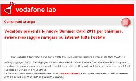 Summer Card 2011 di Vodafone disponibili dal 16 Giugno 2011