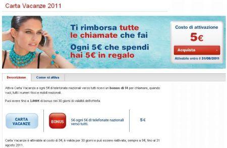 TIM Carta Vacanze 2011 rimborsa tutte le chiamate effettuate