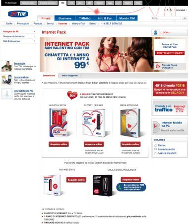 Tim Internet Pack di San Valentino: chiavetta internet e 1 anno di navigazione a 99 euro per San Valentino 2010