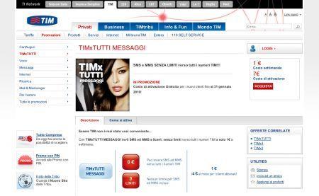 TIMxTUTTI Messaggi: sms ed mms senza limiti verso i numeri Tim