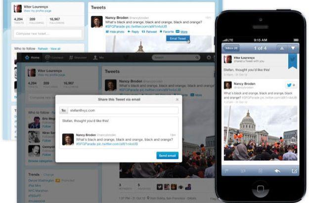 Twitter, ora i tweet si mandando anche via email
