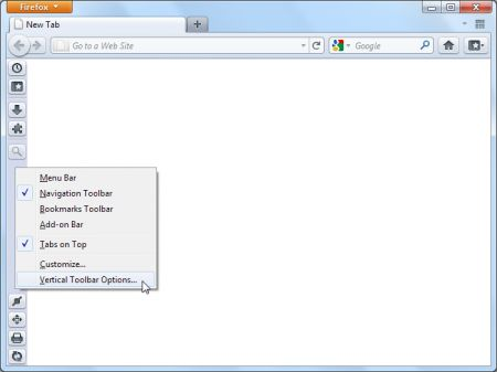 Vertical Toolbar: inserire una toolbar verticale su Firefox
