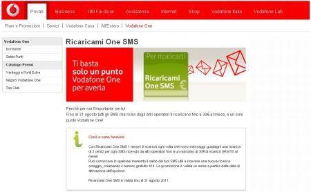 Vodafone e la promozione Ricaricami One SMS