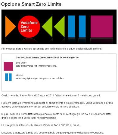 Vodafone rimodula Smart Zero Limits e Summer Card Smart