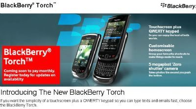BlackBerry Torch 9800: in arrivo con Vodafone