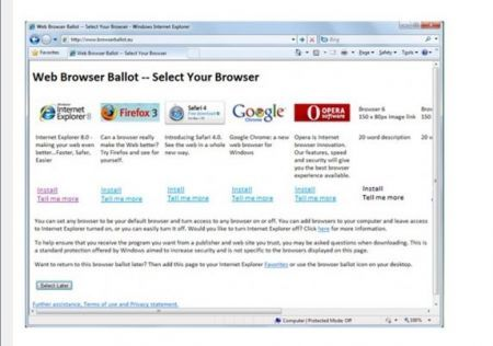 Windows 7 senza Internet Explorer con Web Browser Ballot per la scelta del browser web