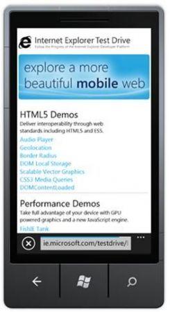 Da Microsoft arriva Internet Explorer 9 Mobile Test Drive