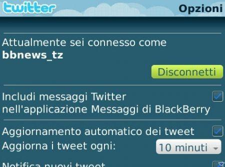 Anteprima client Twitter per palmari Rim BlackBerry