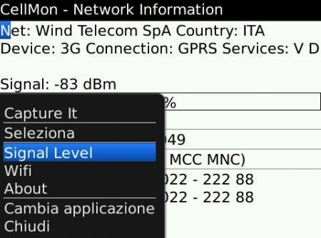 Cellmon: Utility per la diagnostica della rete GSM/WiFi per BlackBerry