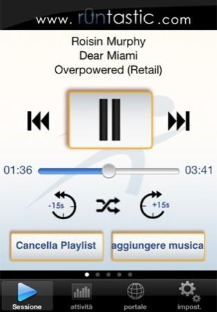 Runtastic, controlli iPod integrati