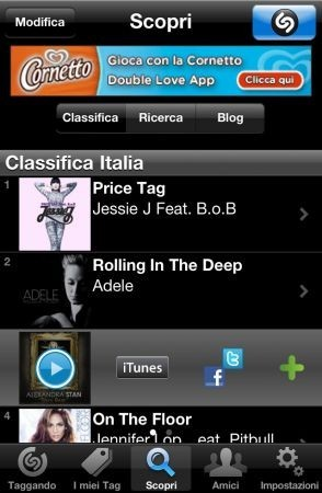 Shazam per iPhone