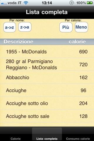 iCalorie & Sport, le calorie