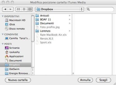 Sincronizzare iTunes, scegliete la posizione