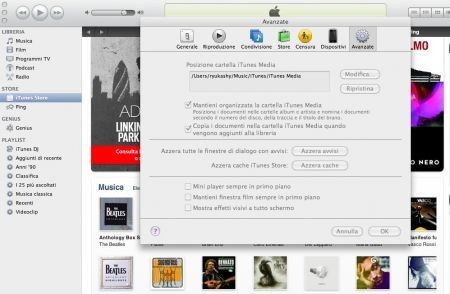 Sincronizzare iTunes, modificate cartella iTunes
