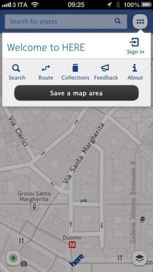 Nokia Here Maps - Opzioni