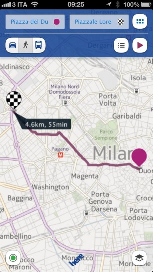 Nokia Here Maps - Percorso