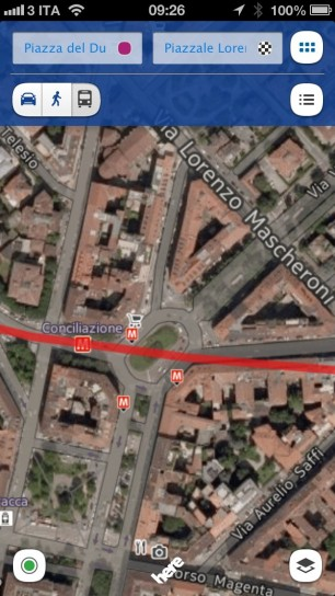 Nokia Here Maps - Vista satellitare