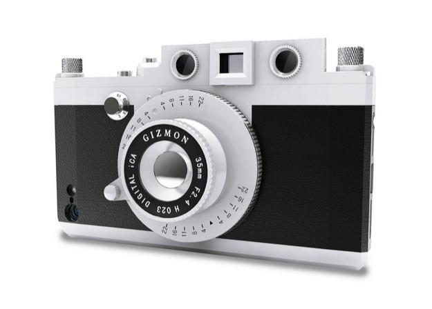 Custodia iPhone 5 Fotocamera Vintage Gizmon iCa - Nero/argento laterale