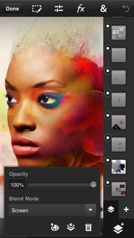 Adobe Photoshop Touch per iPhone - Controllo opacita'
